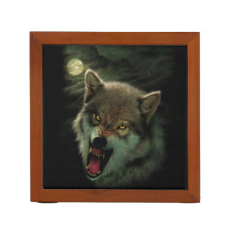 Wolf moon desk organizer