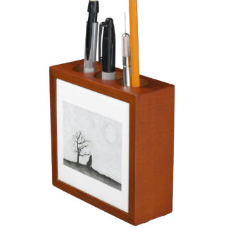 """Wolf Moon"" Desk Organizer"