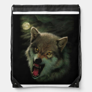 Wolf moon drawstring bag