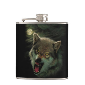 Wolf moon hip flask