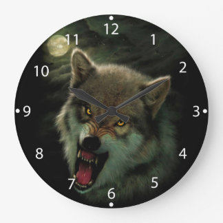 Wolf moon large clock