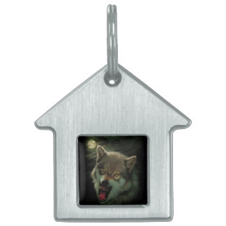 Wolf moon pet ID tag