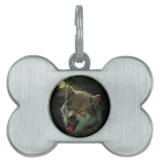 Wolf moon pet name tag
