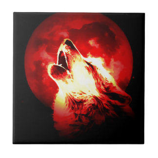 Wolf, Moon & Red Sky Ceramic Tile