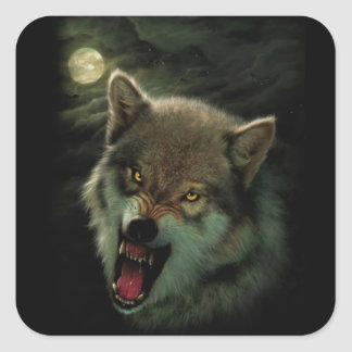 Wolf moon square sticker