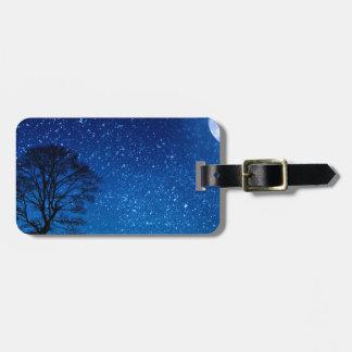 wolf moon stars luggage tag
