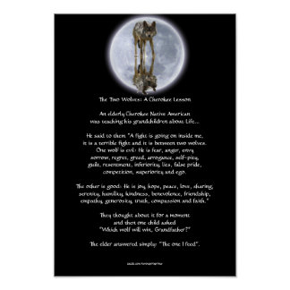 Wolf & Moon TWO WOLVES CHEROKEE TALE Art Poster