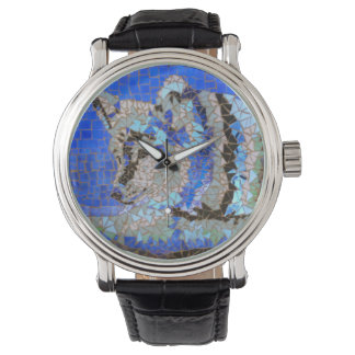 Wolf Mosaic Watch by Willowcatdesigns
