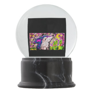 Wolf night art snow globe
