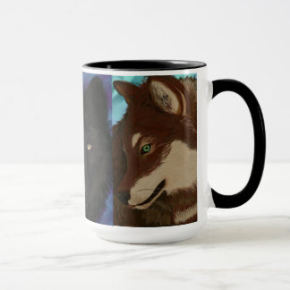 Wolf of many colors mug