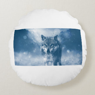 Wolf Office Home Personalize Destiny Destiny'S Round Pillow