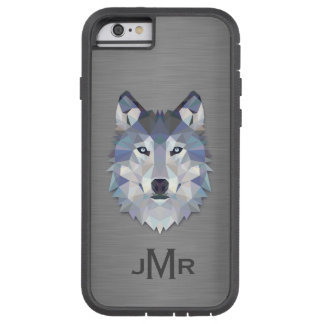 Wolf on Brushed Steel Metal Effect Monogram Tough Xtreme iPhone 6 Case