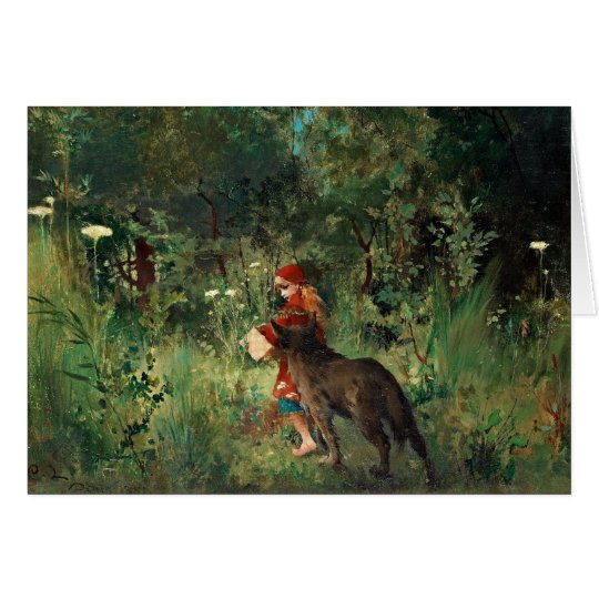 Wolf on Path with Red Card