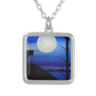 wolf on the mountain silver plated necklace