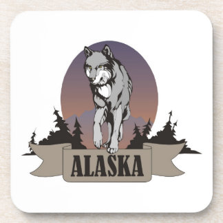 Wolf or coyote among pine trees in Alaska Beverage Coasters
