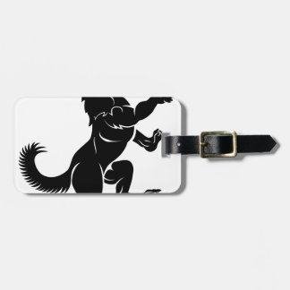 Wolf or Dog in Rampant Heraldic Coat of Arms Pose Bag Tag