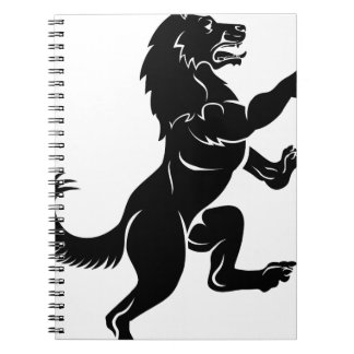 Wolf or Dog in Rampant Heraldic Coat of Arms Pose Spiral Note Books