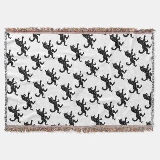 Wolf or Dog in Rampant Heraldic Coat of Arms Pose Throw Blanket
