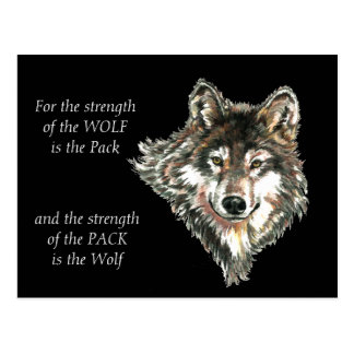 Wolf Pack Family Strength Quote watercolor Animal Postcard