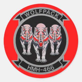 WOLF PACK  HMH-466 ROUND STICKER