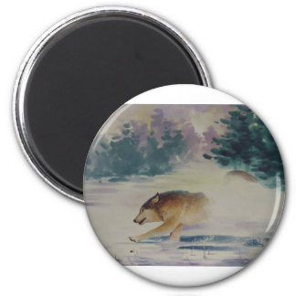 Wolf Pastel 2 Inch Round Magnet
