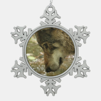 Wolf Pewter Snowflake Ornament