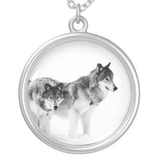 Wolf photo pendant. Black and white wolves. Silver Plated Necklace