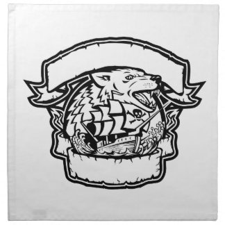 Wolf Pirate Ship Banner Retro Napkin