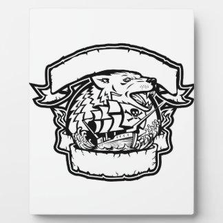 Wolf Pirate Ship Banner Retro Plaque