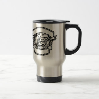 Wolf Pirate Ship Banner Retro Travel Mug
