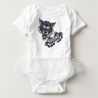 Wolf Player Gamer Mascot Baby Bodysuit