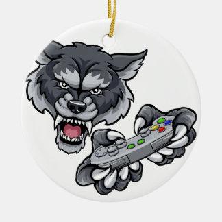 Wolf Player Gamer Mascot Ceramic Ornament