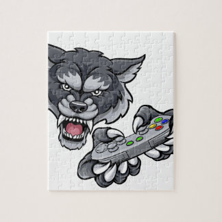 Wolf Player Gamer Mascot Jigsaw Puzzle