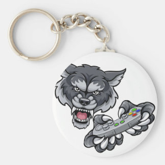 Wolf Player Gamer Mascot Keychain