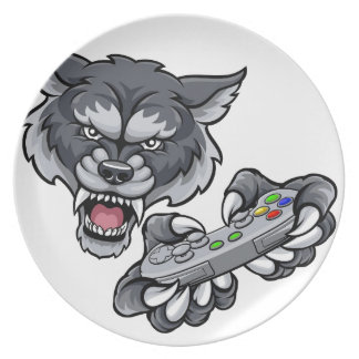 Wolf Player Gamer Mascot Plate