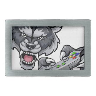 Wolf Player Gamer Mascot Rectangular Belt Buckles