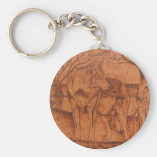 wolf.PNG Wolf Wood Burning Basic Round Button Keychain
