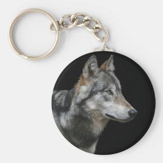 Wolf Portrait Black Background Predator Carnivore Keychain