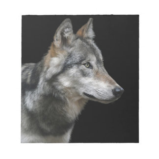 Wolf Portrait Black Background Predator Carnivore Notepad