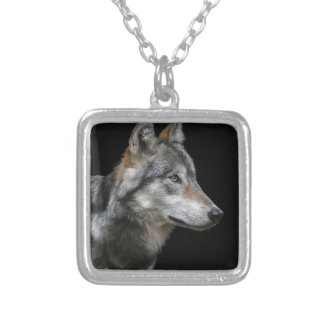 Wolf Portrait Black Background Predator Carnivore Silver Plated Necklace