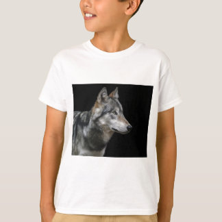 Wolf Portrait Black Background Predator Carnivore T-Shirt