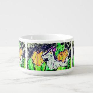 wolf pumpkins art bowl
