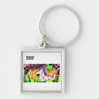wolf pumpkins art keychain