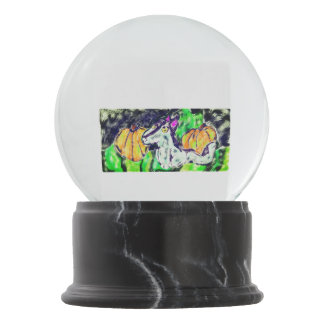 wolf pumpkins art snow globe