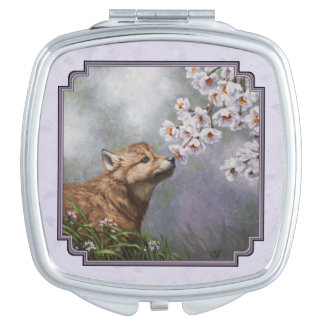 Wolf Pup and Flowers Lavender Compact Mirrors