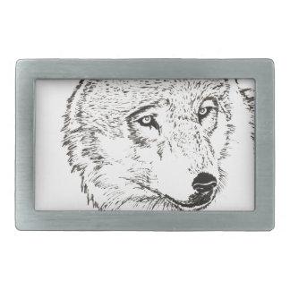 Wolf Rectangular Belt Buckle
