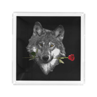 Wolf Rose Acrylic Tray