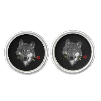 Wolf Rose Cuff Links