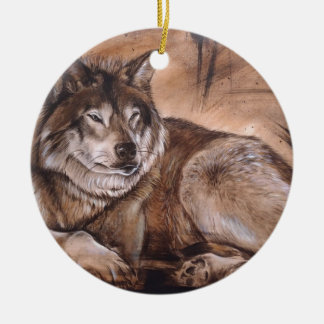 Wolf Round Ceramic Ornament