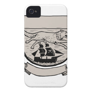 Wolf Running Over Pirate Ship Crest Scratchboard Case-Mate iPhone 4 Cases